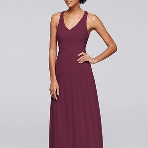 Mesh long bridesmaid dress with criss cross back